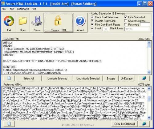 Secure HTML Lock