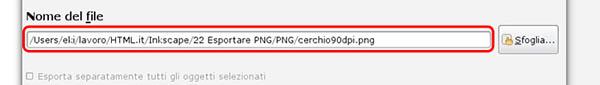 Esportare la PNG a 90 DPI