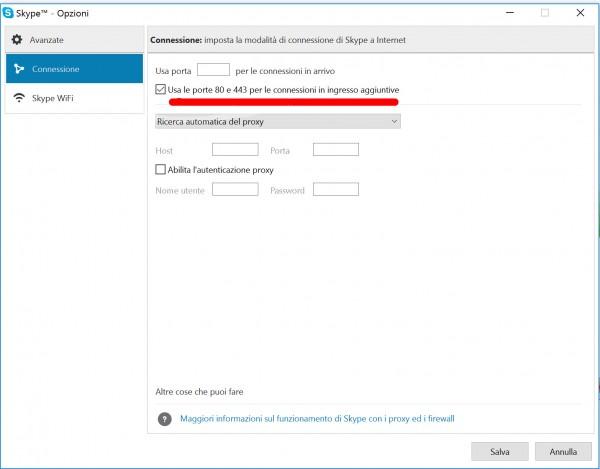 Opzioni avanzate di Skype: uso delle porte 80 e 443