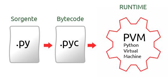 Sorgente (file.py) -> Bytecode (file.pyc) -> Runtime (Macchina Virtuale Python (PVM))
