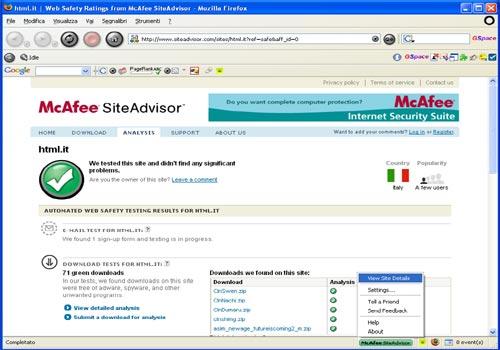 McAfee SiteAdvisor for Firefox