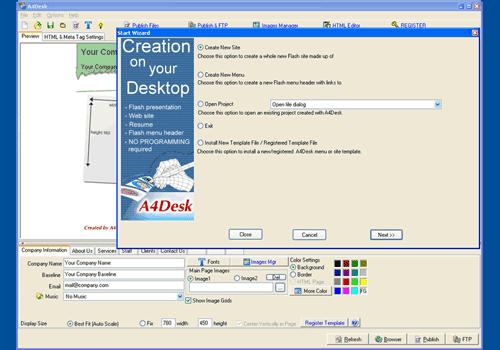 A4Desk Flash Site Builder
