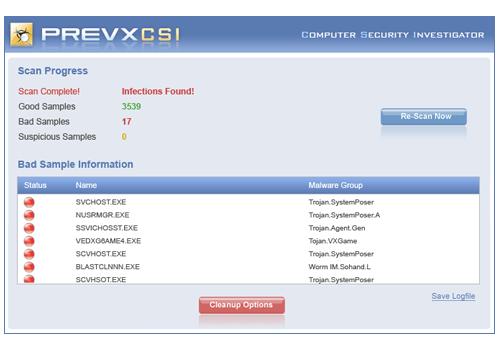Prevx CSI – FREE Malware Scanner
