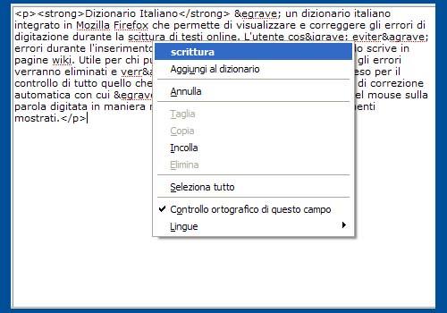 Dizionario Italiano per Firefox