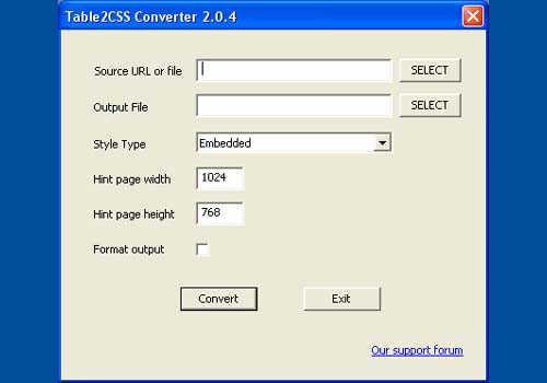 Table2CSS Converter