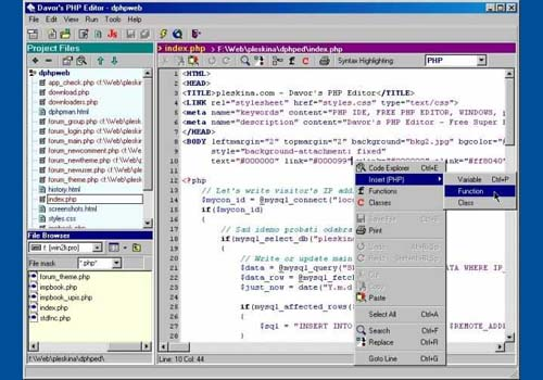 Davor's PHP Editor