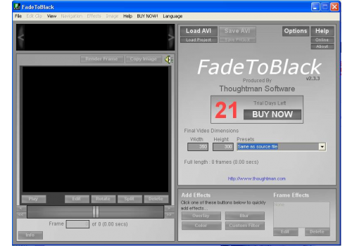 FadeToBlack AVI Video Editor