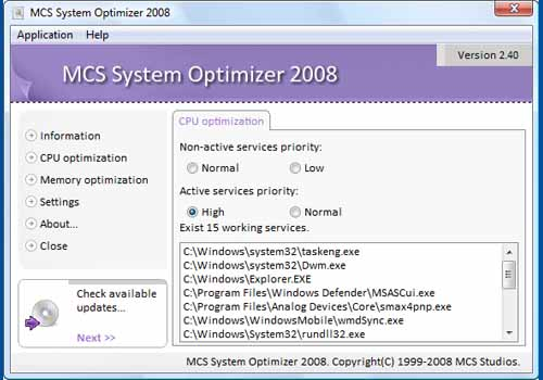 MCS System Optimizer 2008