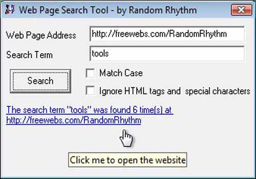 Web Page Search Tool