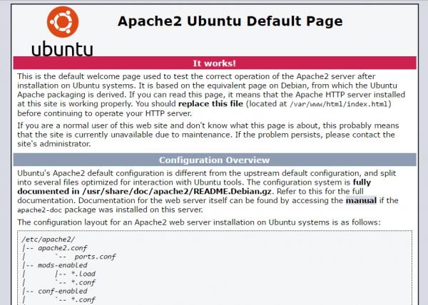 Pagina di default di Apache2 su Ubuntu