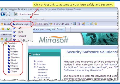 Mirrapass Login and Password Helper