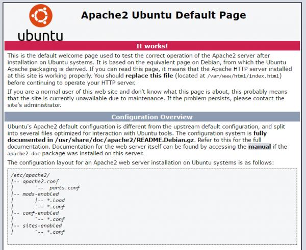 Pagina web di default di Ubuntu server