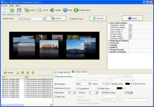 Aleo 3D Flash Slideshow Creator