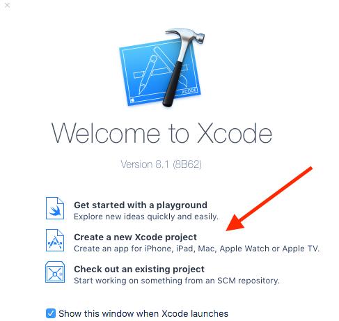 Xcode, schermata di benvenuto