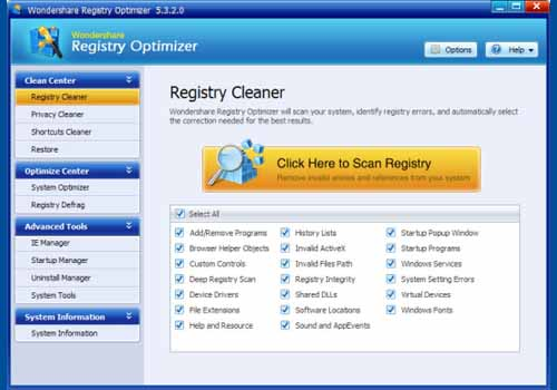 Wondershare Registry Optimizer