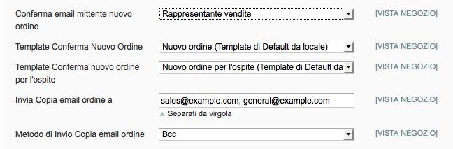 Configurare degli indirizzi per specifiche email