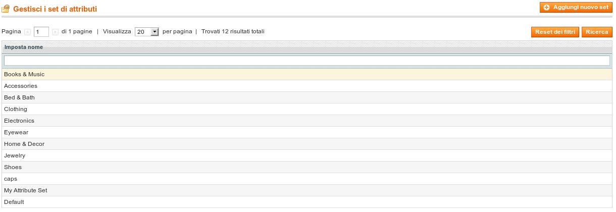 Schermata di gestione set attributi