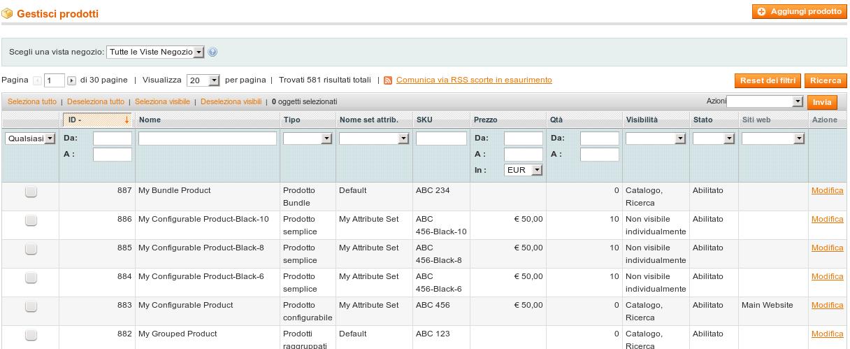 Schermata di gestione dei prodotti