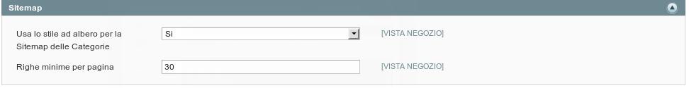 Scheda di configurazione della Sitemap