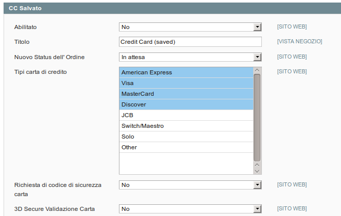 Configurazione metodo Carta di credito salvata
