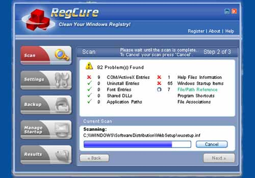 RegCure Registry Cleaner