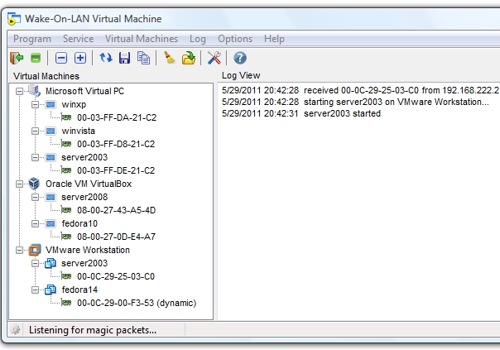 Wake-On-LAN Virtual Machine