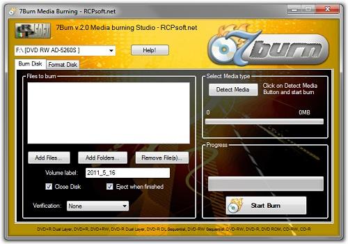 7Burn Free Burning Software