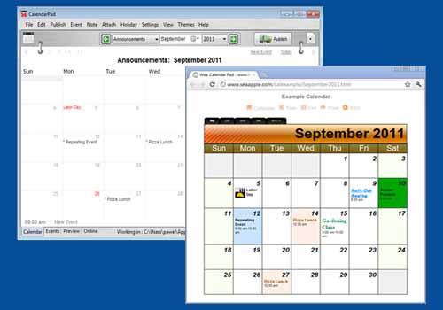 Web Calendar Pad