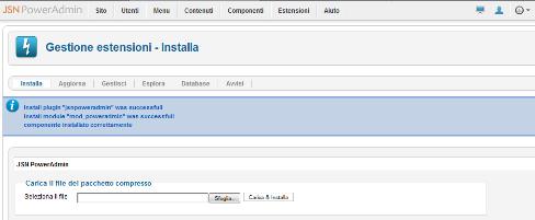 Installazione di JSN PowerAdmin