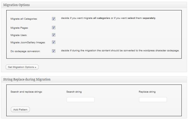 Figura 2. Parametri da impostare per Joomla/Mambo To WordPress Migrator