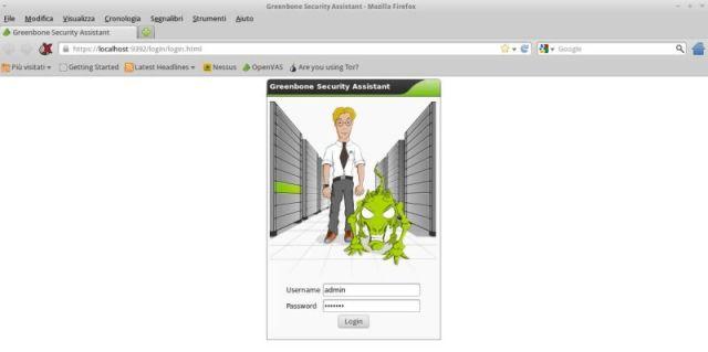 Il login di OpenVAS