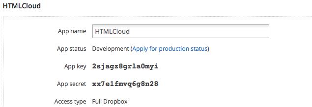 Sezione principale relativa alla pagina di un'applicazione Dropbox