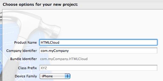 Creazione del progetto HTMLCloud su Xcode