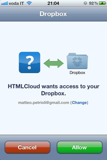 Applicazione Dropbox per la connessione ai servizi