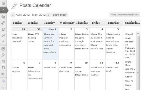 Bozze non programmate in Editorial Calendar per WordPress