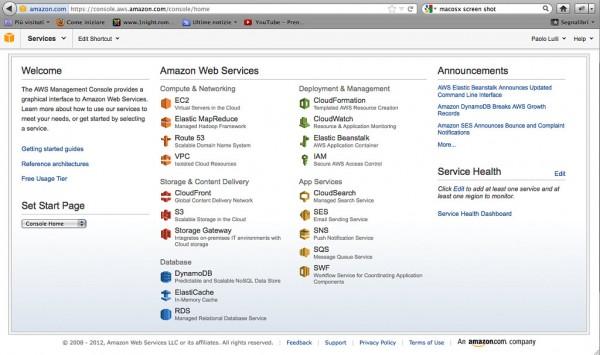 AWS: Console dei servizi