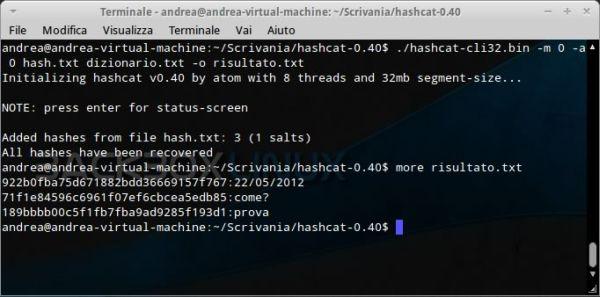 HashCat: attacco con dizionario