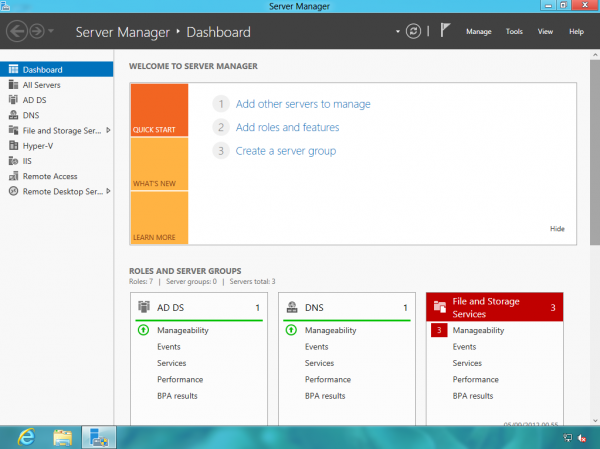 Il nuovo Server Manager in Windows 8