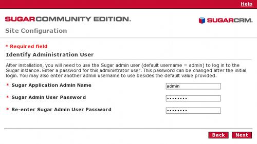 Configurazione dell'utente amministratore per SugarCRM