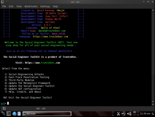 Schermata iniziale di Social-Engineer Toolkit