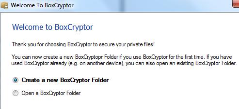 Creazione cartella Boxcryptor