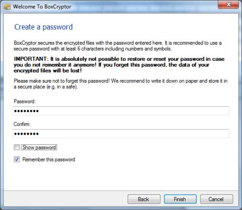 Scelta password Boxcryptor