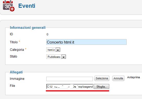 Creazione di un evento in iCagenda per Joomla