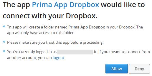Connessione dell'App a Dropbox