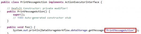 il codice di PrintMessageAction