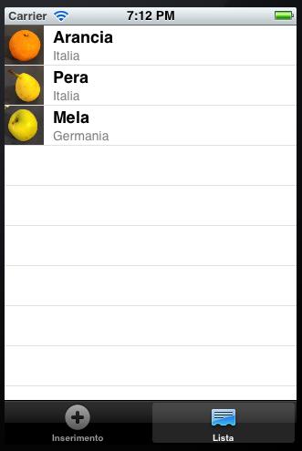tabella in iOS