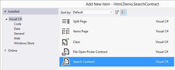 Aggiunta di un contratto Search