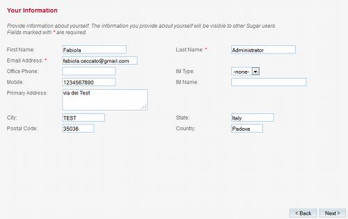 Configurazione del primo utente