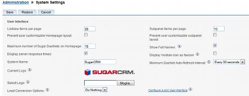 Impostazioni di sistema in SugarCRM