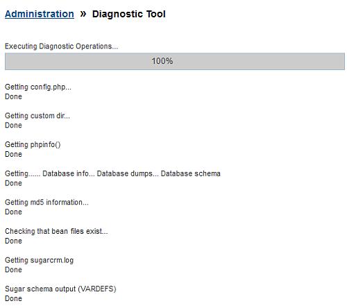 Esecuzione del controllo diagnostico su SugarCRM